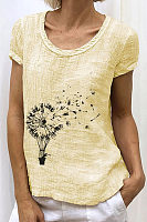 Dandelion Printed Casual Womens Top
