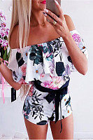 Sexy Printed One-Shoulder Straps With Waist Romper