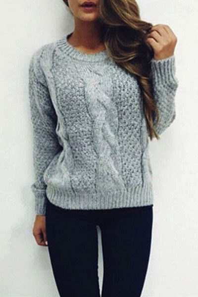 Variegated Twist Round Neck Sweaters