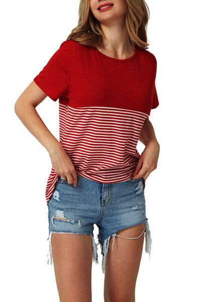 Round Neck  Patchwork Striped T-Shirts