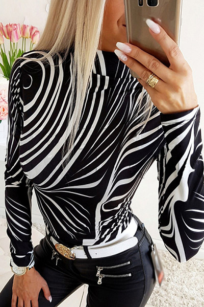Women's Fashion Simple Printed Turtleneck T-Shirt