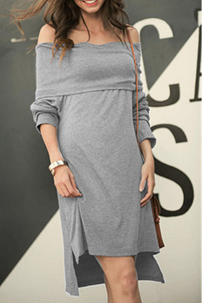 Off Shoulder  Asymmetric Hem  Plain  Long Sleeve Casual Dresses