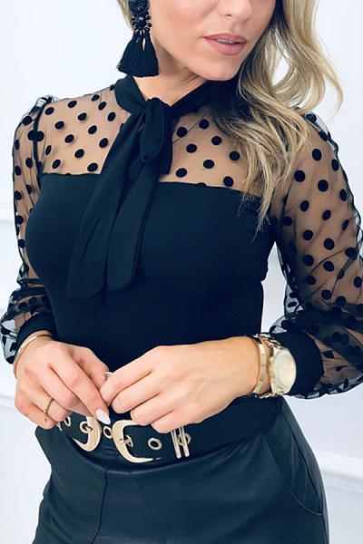 Ladies Fashion Polka Dot Mesh Shirt