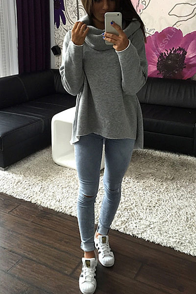 Cowl Neck  Asymmetric Hem  Plain Hoodies
