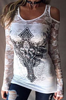 Open Shoulder Round Neck  Hollow Out Lace Printed T-Shirts