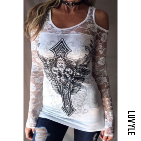 White Open Shoulder Round Neck Hollow Out Lace Printed T-Shirts White Open Shoulder Round Neck Hollow Out Lace Printed T-Shirts