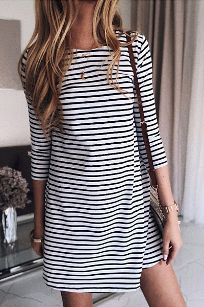 Casual Round Neck Black And White Striped Cropped Sleeves Slim Cotton Dress