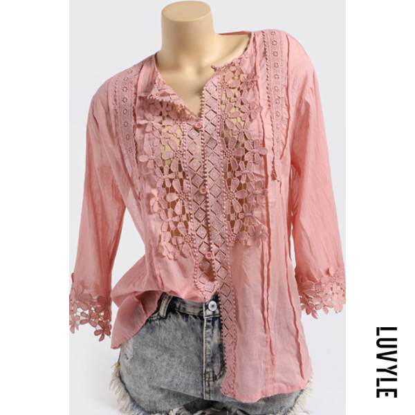 Round Neck Patchwork Lace Three-quarter Sleeve Blouse