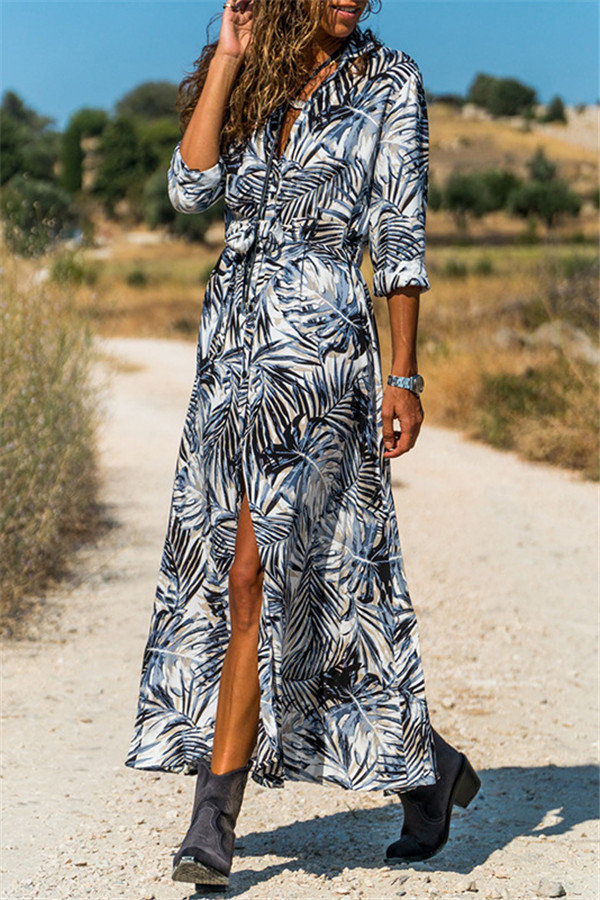 Beautiful Casual Maxi Dress with long sleeves & tropical printed leaves