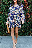 V Neck Long Lantern Sleeve Floral Printed Elegant Casual Dress