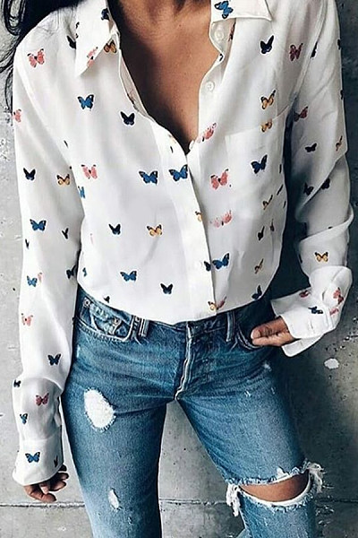 Turn Down Collar  Single Breasted  Print  Blouses