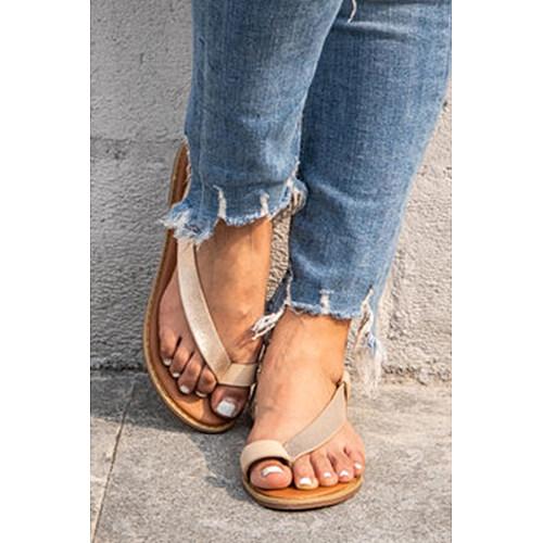 Color Block  Flat  Peep Toe  Casual Travel Flat Sandals