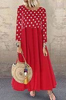 Round Neck Long Sleeve Polka Dot Maxi Dress