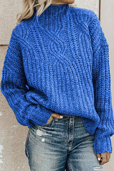 Turtleneck Twist Knitted Pullover