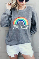 Casual Round Neck Long Sleeve Rainbow Sweatshirt