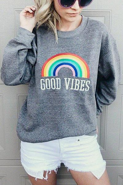 Casual Round Neck Long Sleeve Rainbow Sweatshirt