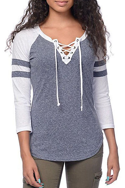 V Neck  Lace Up  Color Block Striped T-Shirts