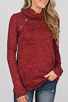 Cowl Neck  Decorative Buttons  Plain  Sweatshirts