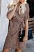 Surplice  Lace Up  Leopard  Short Sleeve Casual Dresses