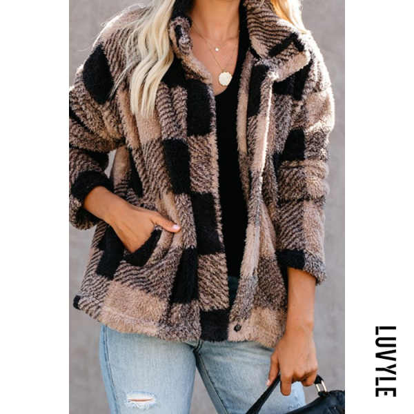 Women's Casual Stitching Plaid Coat