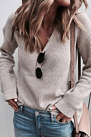 Fashion Pure Colour V Neck Long Sleeve Sweater