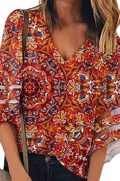 V Neck Print Bell Sleeve T-shirt