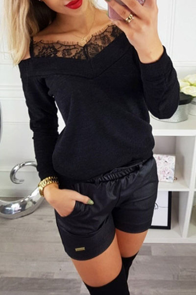 Spaghetti Strap  Lace Plain T-Shirts
