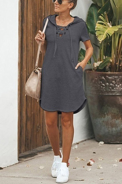 Lace Up Solid Color Short Sleeve Mini Dress