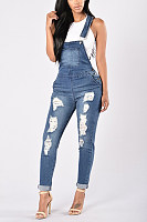 Broken Holes  Overall  Plain  Sleeveless Denim Overalls