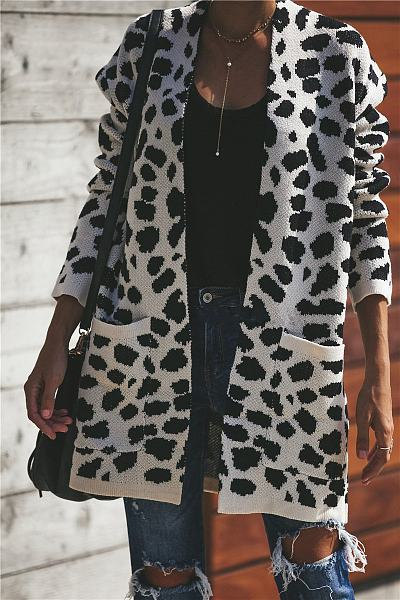 Band Collar  Leopard Printed  Cardigans