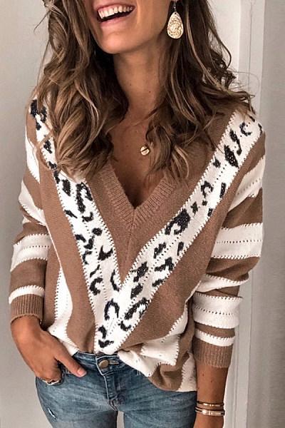 Womens V Neck Printed Colour Sweater