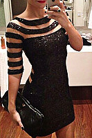 Round Neck  Decorative Lace  Plain  Half Sleeve Bodycon Dresses