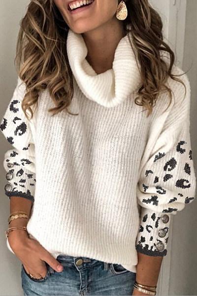 Heap Collar Long Sleeve Leopard Sweater