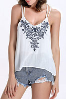 Spaghetti Strap  Backless  Embroidery Camis
