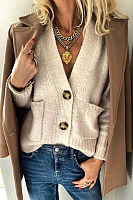 Casual Solid Color V-Neck Knit Cardigan
