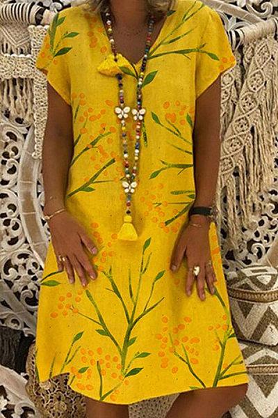Fashion V-neck Print Short Sleeve Dress