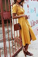 V Neck  Single Breasted  Belt  Short Sleeve Maxi Dresses