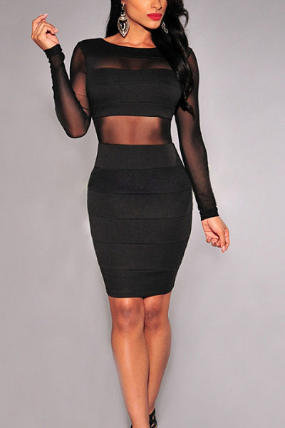 Round Neck  Backless  Hollow Out Plain Bodycon Dresses