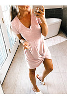 Casual V-Neck Knotted Short-Sleeved Dress
