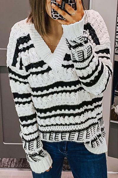 Casual womens v-collar striped spell color sweater