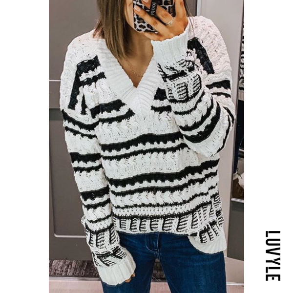 Casual womens v-collar striped spell color sweater - from $28.00