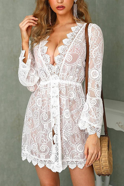 Sexy V Neck Hollow Out See-Through Casual Dresses