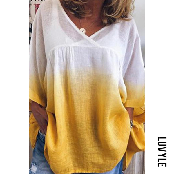 Yellow V Neck Gradient Loose-Fitting T-Shirts Yellow V Neck Gradient Loose-Fitting T-Shirts