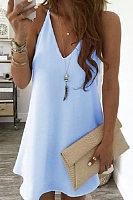 Solid Color V Neck Sleeveless Mini Dress