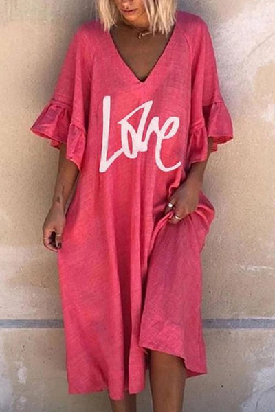 Casual Cotton Blend Letter Printed Midi Dress