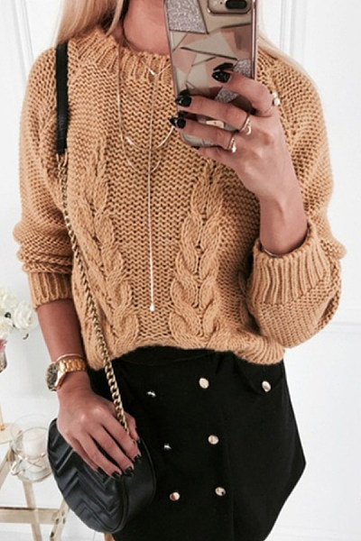 Round Neck Hollow Out Casual Sweater