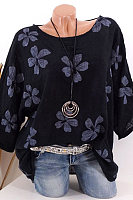 Round Neck Patchwork Printed Half Sleeve Blouse