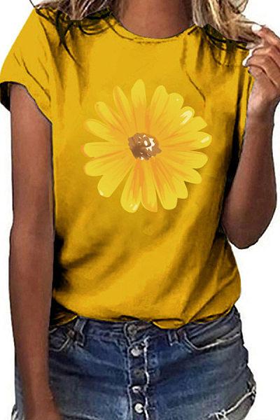 Sunflower Round Neck Short Sleeve T-shirt