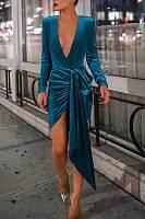 Deep V Neck  Asymmetric Hem  Plain  Long Sleeve Bodycon Dresses