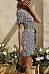 Deep V Neck  Floral Printed  Short Sleeve Casual Dresses